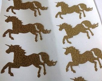 Large  Gold Glitter Galloping  Unicorn Stickers 15 pc Party