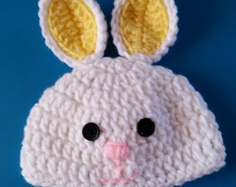 Crocheted Baby Easter Bunny  White/yellow beanie/ Hat