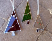Stained Glass Christmas Tree Ornaments - 3 - Red - Green - Clear - Suncatcher - Holiday - Decorations - Handmade