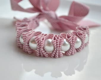 Chevron. Pearl Bracelet. Twillypop Charlie Ribbon Bracelet.Pearl Jewelry for Women. Womens Bracelets. Mauve. Gift Under 25