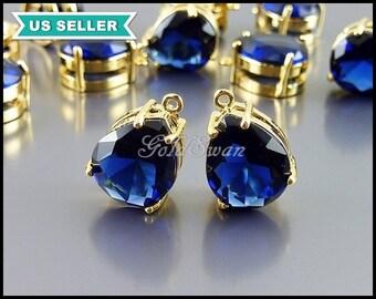 2 deep blue / royal blue color glass crystal charms, teardrop royal blue stone pendants, gold setting 5067G-RB