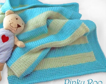 Knitted Baby Blanket in stripes of  turquoise and green with turquoise border / unisex baby blanket / turquoise color nursery