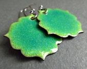 Green speckle enamel earrings, enamel on copper, moroccan tile shape earrings, copper enamel jewelry, torch enamel jewelry, fancy shape