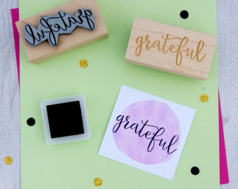 Grateful Sentiment Text Rubber Stamp - Thank You Stamper - Script Style Font - Card Making - Scrapbooking - Thanksgiving - Thanks