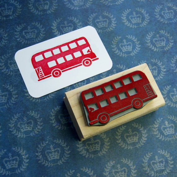 London Bus Rubber Stamp - London Transport - Red Bus Rubber Stamp - Gift for Boys - London Wedding - London Stationery - British Stamper