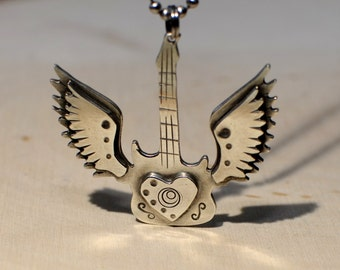 Sterling Silver Winged Guitar Necklace  - Handmade from Solid 925 NL391