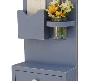 Shelf with Drawer Mail Holder -Mason Jar - Key Hooks - Key Rack - Painted Wood