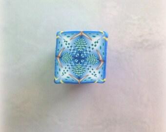 Polymer Clay Kaleidoscope Cane Blue, Gold, Green, White No. 2335