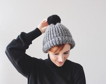 Black-White Pom Pom Hat