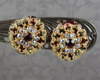Vintage Ruby Red and Clear AB Finished Golden Filigree Round Clip On Earrings