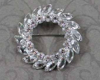 Vintage Sterling CD Clear Open Back Rhinestone Silver Wreath or Circle Brooch