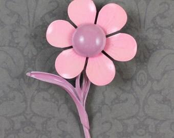 Vintage Pink and Purple Enamel Flower Brooch