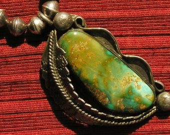 Navajo Sterling Silver Turquoise Squash Blossom Bench Bead Pendant Necklace