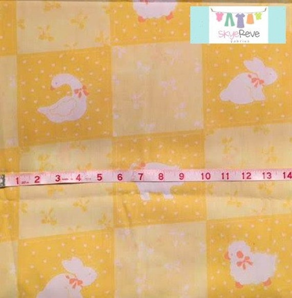 Vintage yellow baby animal fabric 1 yard for Yellow baby fabric