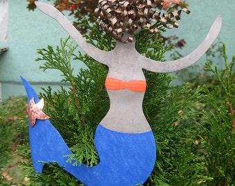 Metal Art Mermaid Christmas Tree Topper Recycled Metal Tree Ornament Blue Beach House Decor Ocean Theme Tree Topper