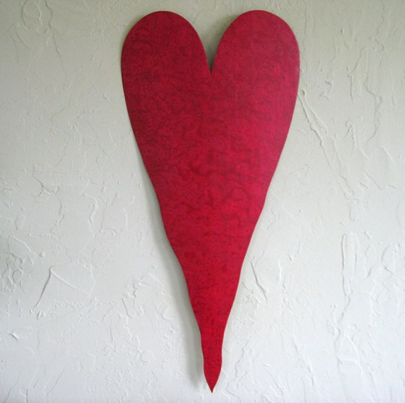 Large Heart Wall Decor : Large red heart metal wall art sculpture recycled
