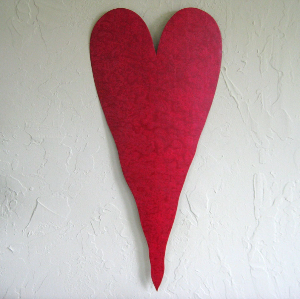 large red heart metal wall art sculpture recycled metal wall. Black Bedroom Furniture Sets. Home Design Ideas