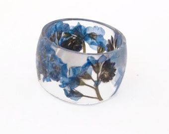 Forget Me Nots Eco Resin Ring. Wide Band Ring Women and Men. Botanical Resin Jewelry.  Handmade Jewelry  Eco Friendly Flowers Resin Flower