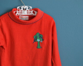 Vintage Girl's Turtleneck Shirt with Apple Tree and Birds Applique - Size 3T