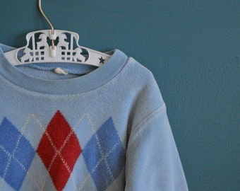 Vintage Child's Velour Shirt with Argyle Print - Size 2T 3T