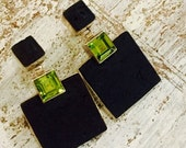 RESERVED Anita Fall into Vintage SALE Beautiful Black Lava Stone Green Peridot Sterling Silver Vintage Earrings Canary Islands