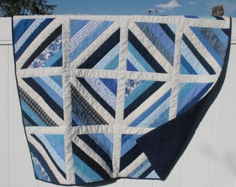 Scrap Patchwork Quilt or Baby Quilt in Navy Blue and White