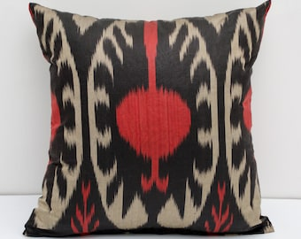 15x15 ikat pillow cover, red, beige, black cushion case, ikat, ikats, pillows, sofa pillow, interior cushions, ikat design