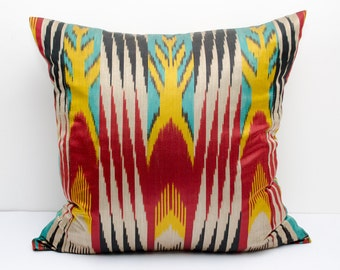 20x20 red yellow turquoise vivid ikat pillow cover cushion case, red yellow ikats, red yellow pillows