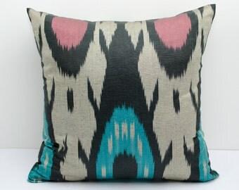 14x14 ikat pillow cover, beige, coral, turquoise, black, ikats, ikat pillows, ikat cushion case, uzbek ikat,