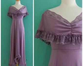 vintage 70's lavender lace dress