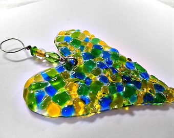 Blue, green and yellow fused glass valentine  suncatcher, ornament, keepsake