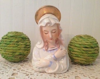 vintage Mary candle holder made in JAPAN. Mid-century religious candleholder, shrine, Virgin Mary statue, pearlescent cream, blue, gold.
