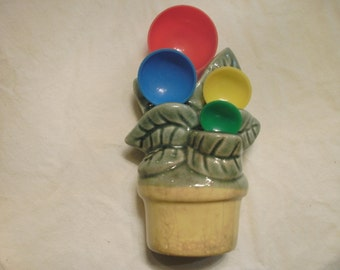 Kitchen Wall Pocket  Ceramic Flower Pot Holding Four Measuring Spoons