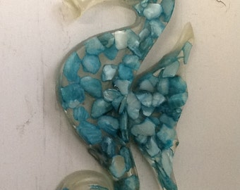 Vintage  Clear Lucite Seahorse Wallhanging Turquoise Dyed Sea Shell Pieces 1960's or 1970's