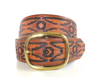 Vintage Tooled and Painted Leather Belt