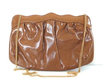 Vintage Embossed Caramel Clutch/Purse
