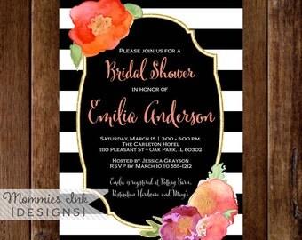 Watercolor Floral Baby Shower Invitation, Black and White Stripes Shower Invitation, Floral Glitter Invitation, Watercolor Flower invitation