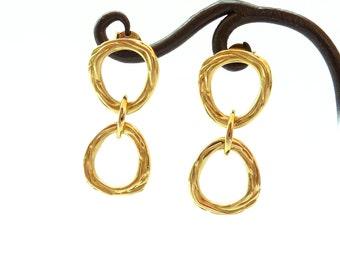 18K gold earrings Gold Post Earrings, Zen nature Double Ring - Handmade Fine Jewelry - Unique Jewelry