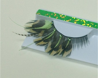 Glow in the Dark Feather Eyelashes UV Green and Brown Crystal Lashes