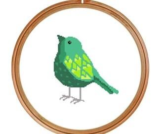 Aqua Bird Cross Stitch Pattern