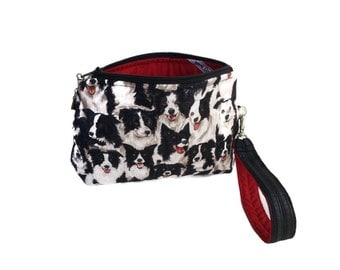 Gifts for her / Dog lover / clutch with strap /black white red / dog purse / cotton fabric / bags purses / Item #CJF6-1006 caroljoyfashions6