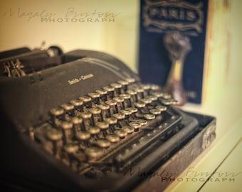 Shabby Chic, Vintage SMITH CORONA Typewriter, Still Life, Fine Art, Antique Typewriter, Collectors, Sepia tone, Magaly Burton