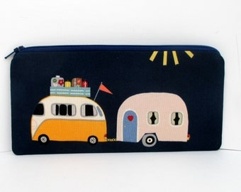 Zip Bag, Happy Camper, Love Bus, Trailer, Navy Blue Zippered Pencil Pouch