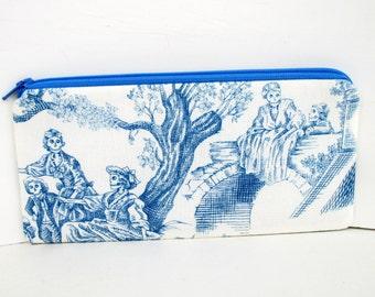 Zipper Pencil Pouch, Toile of the Dead in Blue, Dia de los Muertos Skeletons