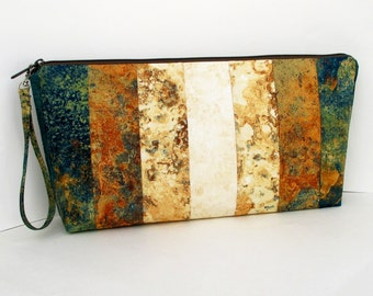 Zippered Project Bag, Large Knitting Patchwork Pouch, Copper Canyon Stone Gradient