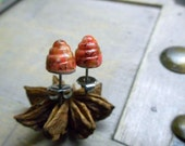 Candy Corn. Beehive Post Earrings. Czech Glass Orange Swirly Cones & Titanium post stud earrings.