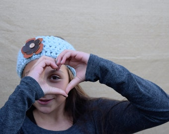 FALL SALE Chunky Cowl Neckwarmer With Leather Flower / Wool Headband / Wooden Button Heandband / Blue