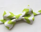 Little Guy Holiday BOW TIE - Lime Green Chevron (3T- 6 years) - Boy Toddler- (Ready to Ship) - St Patrick's Day