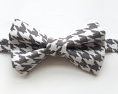 Little Guy Holiday BOW TIE - Gray and White Houndstooth (3T- 6 years) - Boy Toddler- (Ready to Ship) - Spring Easter