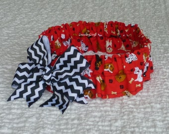 "Dog Scrunchie Collar:  Tossed Dogs on Red with big black chevron bow - Size XXL - 20"" to 22"" neck"